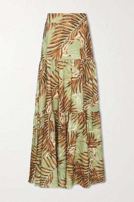 PatBO Palmeira Tiered Printed Woven Maxi Skirt - Leaf green