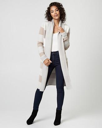Le Château Check Print Wool Blend Sweater Coat