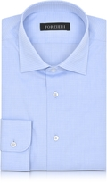 Forzieri Light Blue Woven Checked Cotton Slim Fit Men's Shirt