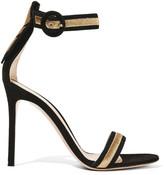 Gianvito Rossi Portofino Metallic Embroidered Suede Sandals - Black
