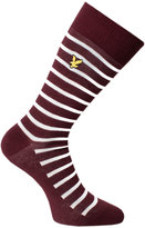 Lyle & Scott Breton Stripe Claret Jug Red Socks