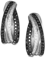 Effy Caviar by Black Diamond and White Diamond Hoop Earrings (3/4 ct. t.w.) in 14k White Gold