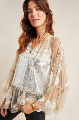 A.N.A Rina Dhaka Sequined Peasant Blouse