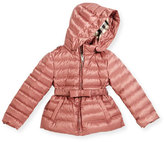 Burberry Janie Hooded Puffer Jacket, Antique Rose, Size 4-14