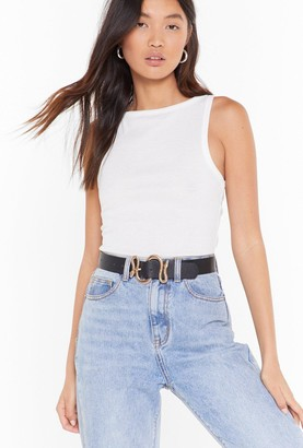 Nasty Gal Womens It's Yours For the Snake-ing Faux Leather Buckle Belt - Gold