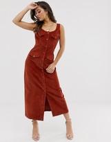 Asos Design DESIGN cord midi dress in conker