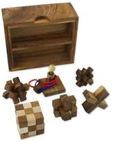 Handmade Set of Six Mini Wooden Puzzles from Thailand, 'Mini Puzzles'