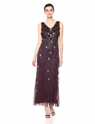 Pisarro Nights Women's Long Dress with 3-D Flowers and Beaded Motif