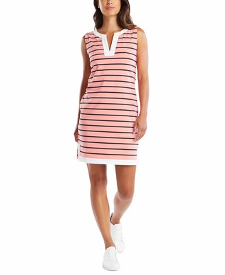 Nautica Women's Breton Stripes Sleeveless V-Neck Stretch Cotton Polo Dress