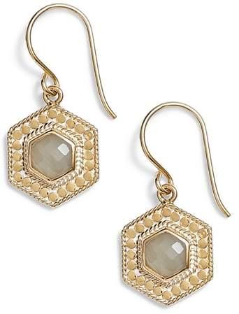 Anna Beck Grey Moonstone Hexagon Drop Earrings