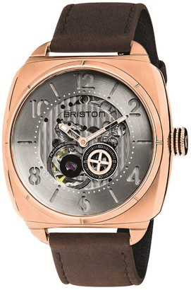 Briston Streamliner Skeleton Rose Gold Ip Case Silver Dial