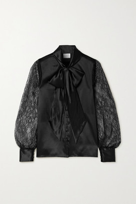 CAMI NYC Camberlyn Pussy-bow Silk-charmeuse And Lace Blouse - Black