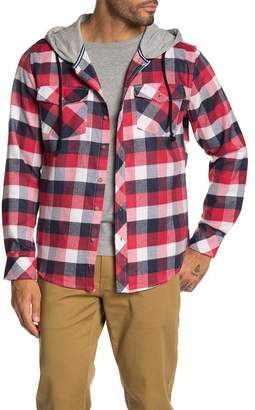 Straight Faded Hooded Plaid Knit Flannel Jacket