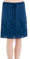 Max Studio Embroidered Cotton Voile Skirt