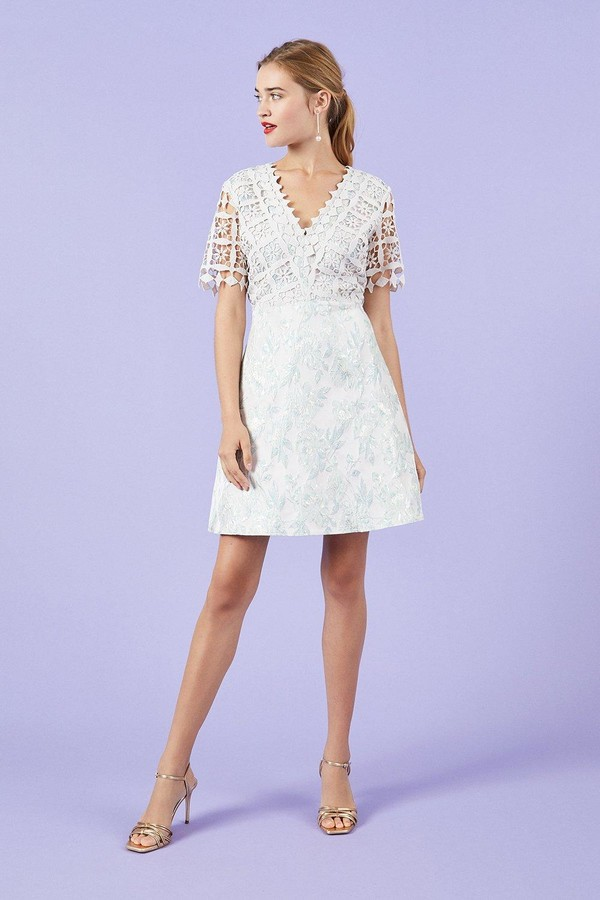 Coast Lace And Jacquard A-Line Dress