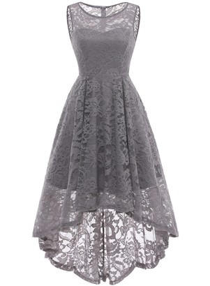 MuaDress 6006 Vintage Floral Lace Sleeveless Hi-Lo Cocktail Formal Party Dress S Grey