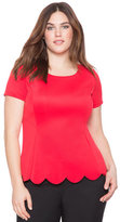ELOQUII Plus Size Scalloped Hem Flare Top