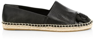 Tory Burch Cap-Toe Leather Espadrilles