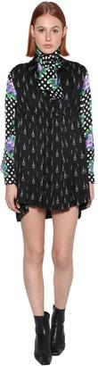 Balenciaga Printed Sleeveless Crepe Shirt Dress