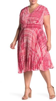 Maggy London Deep V-Neck Gathered Dress (Plus Size)