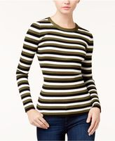 Hooked Up by IOT Juniors' Zip-Back Striped Sweater