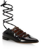 Givenchy Showline Patent Leather Lace-Up Ballet Flats