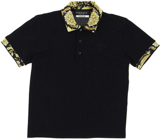 Versace Boy's Baroque-Trim Short-Sleeve Polo Shirt, Size 8-14