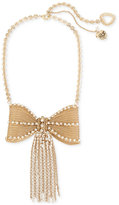 Betsey Johnson Gold-Tone Pavé Fringed Mesh Bow Necklace