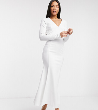 Asos Tall ASOS DESIGN Tall midi bodycon dress with fishtail and v neck in ivory