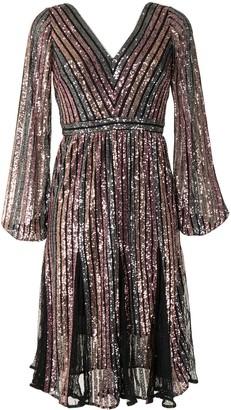 Marchesa Notte Sequin Stripe Long-Sleeve Dress