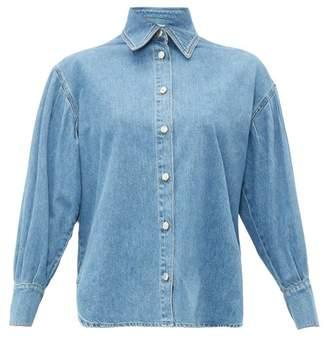 MSGM Balloon-sleeve Denim Shirt - Womens - Light Denim