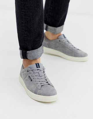 Jack and Jones suede trainer with comfort lining in grey-Silver