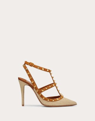 Valentino Rockstud Raffia Pump With Straps 100 Mm Women Natural Viscose 60%, Cotton 40% 34.5