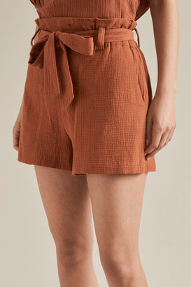 Seed Heritage Tie Up Cheesecloth Shorts