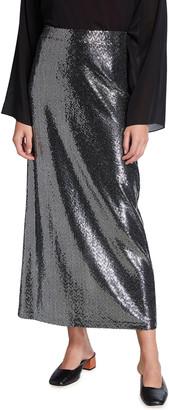 Rosetta Getty Paillette A-Line Midi Skirt