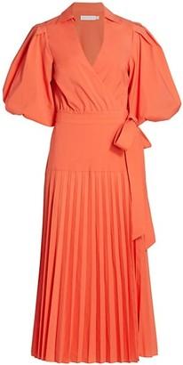 Jonathan Simkhai Marny Pleated Poplin Wrap Midi Dress