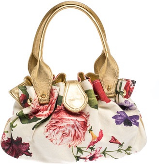 Roberto Cavalli Multicolor Floral Print Canvas and Leather Satchel