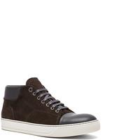 Lanvin Velvet Calfskin and Nappa Mid Top Desert Sneaker