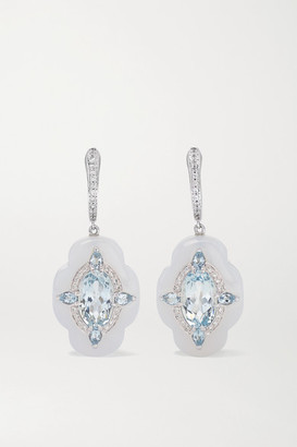 Boghossian 18-karat White Gold, Chalcedony, Aquamarine And Diamond Earrings - one size