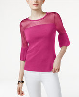 INC International Concepts Petite Ruffle-Sleeve Illusion Sweater, Only at Macy's