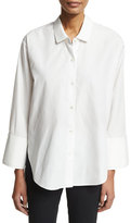 Halston Long-Sleeve Wide-Cuff Button-Front Cotton Shirt, White