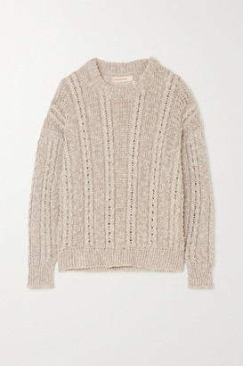 &Daughter Stevie Cable-knit Linen And Cotton-blend Sweater - Beige