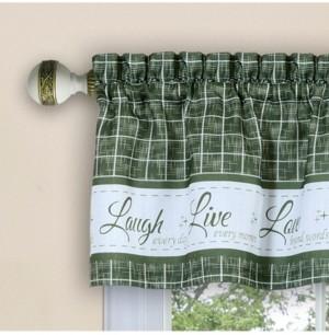 Achim Live, Love, Laugh Window Curtain Tier Pair and Valance Set, 58x24