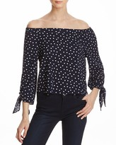 Aqua Dot Off-The-Shoulder Knot Sleeve Top