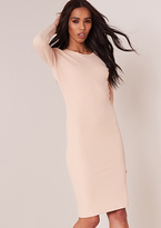 Missy Empire Loretta Nude Long Sleeved Backless Midi Dress