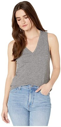 Madewell Whisper Cotton V-Neck Pocket Tank (Heather Mercury) Women's Clothing
