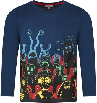 Paul Smith Blue T-shirt For Kids With Monster