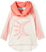 Beautees Tan Moon Top & Coral Infinity Scarf - Girls