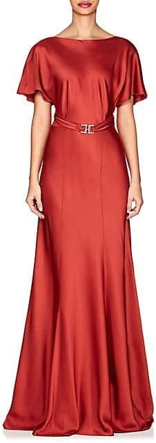 Alberta Ferretti Women's Belted Satin Gown - Red