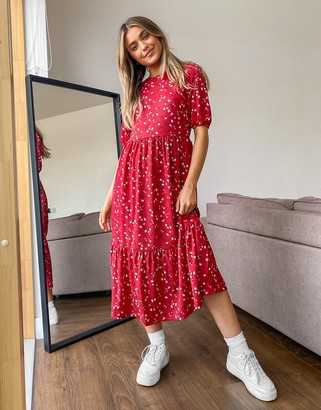 Stradivarius midi dress with smock detail in red floral